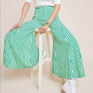 Anthropologie McKenzie wide green striped pant 8